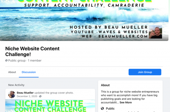 Niche Website Content Challenge Facebook Group